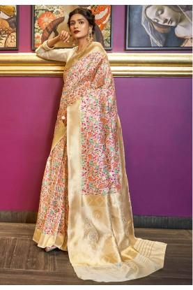 Off White,Cream Colour Traditional Saree.