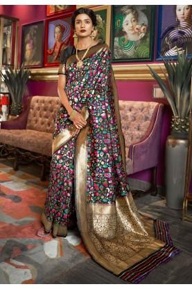 Black Colour Silk Party Wear Sari.