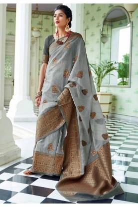 Grey Colour Silk Saree.