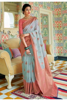 Light Blue Colour Weaving Saree.