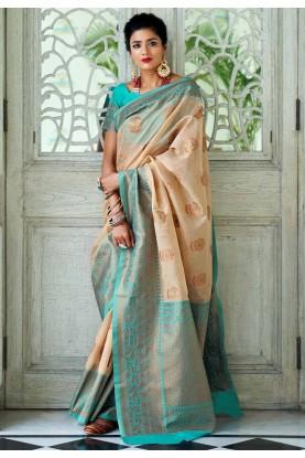 Cream Colour Printed Sari.