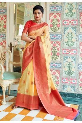 Yellow Colour Designer Sari.