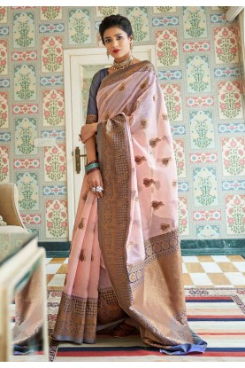 Baby Pink Colour Linen,Silk Saree.