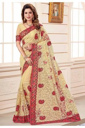 Indian Wedding Saree Beige Colour .