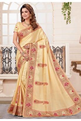 Golden Colour Silk Embroidered Sari.
