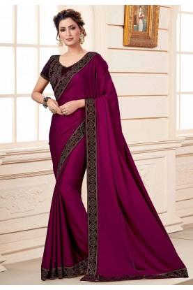 Purple Colour Party Wear Silk Sari.
