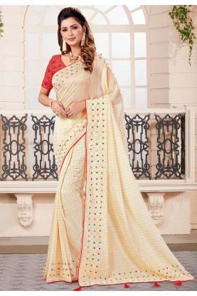 Off White Colour Designer Saree.