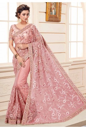 Pink Colour Embroidery Net Saree.