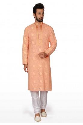 Orange Colour Readymade Kurta Pajama.