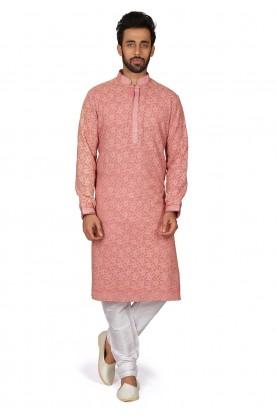 Designer Kurta Pajama Peach Colour.