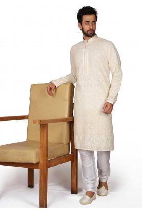 Cream Colour Party Wear Kurta Pajama.