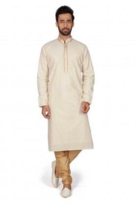 Cream Colour Brocade Fabric Men's Kurta Pajama.