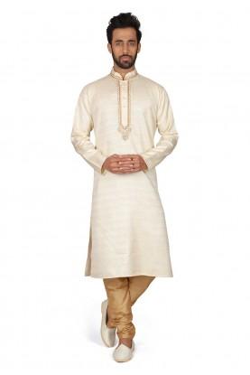 Cream Colour Silk Readymade Kurta Pajama.