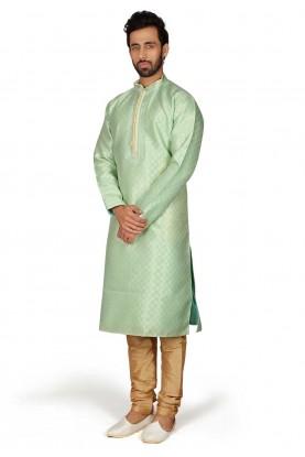 Green Colour Brocade Kurta Pajama.