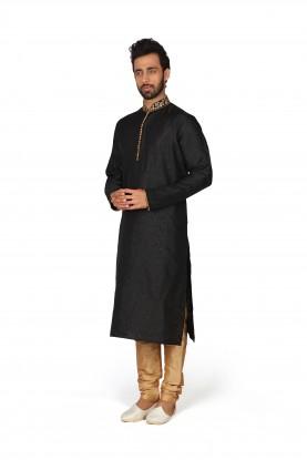 Black Colour Brocade Party Wear Kurta Pajama.