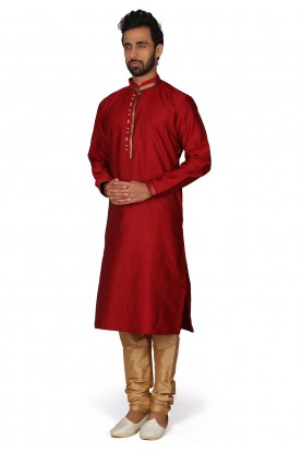 Silk Kurta Pajama Red Colour.