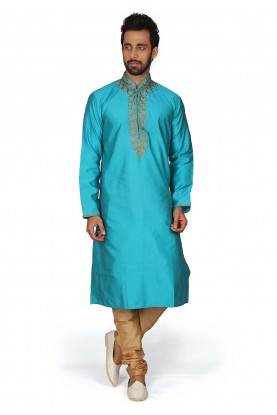 Blue Colour Brocade Silk Kurta Pajama.