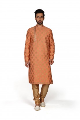 Orange Colour Brocade Fabric Kurta Pajama.