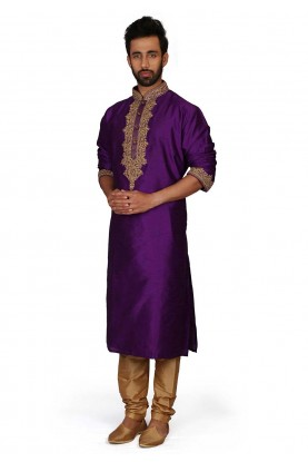 Purple Colour Silk Designer Kurta Pajama.