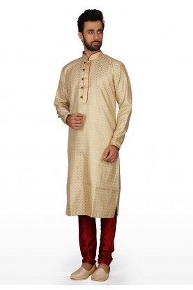 Cream Colour Brocade Fabric Men's Kurta Pajama.