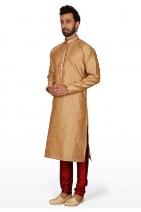 Golden Colour Men's Kurta Pajama.