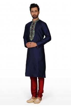 Party Wear Kurta Pajama Blue Colour.