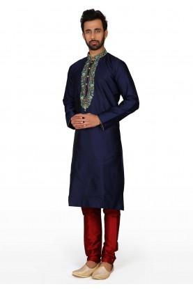 Party Wear Kurta Pajama Blue Colour.