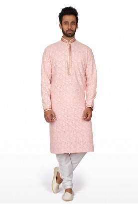 Pink Colour Men's Wear Kurta Pajama.