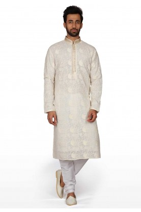 Cream Colour Indian Designer Kurta Pyjama.