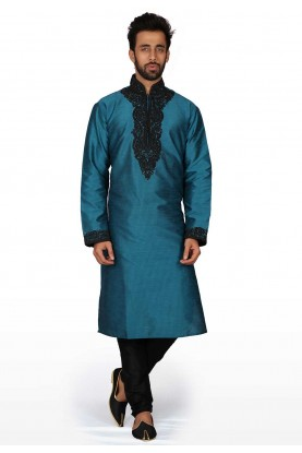 Blue Colour Silk Kurta Pajama.
