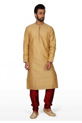 Golden Colour Traditional Kurta Pajama.