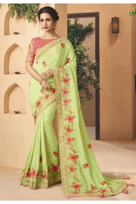 Green Colour Embroidered Saree.