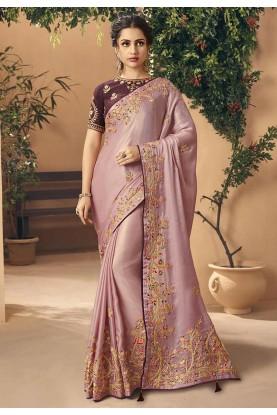 Purple,Brown Colour Party Wear Sari.
