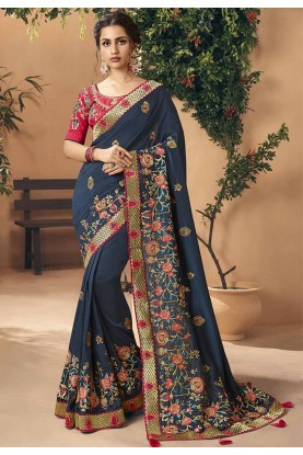 Art Silk Designer Saree Blue Colour.