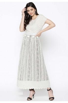 Off White Colour Cotton Kurti.
