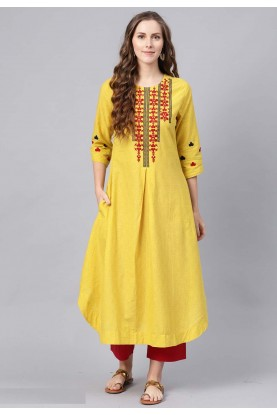 Designer Kurti Yellow Colour.