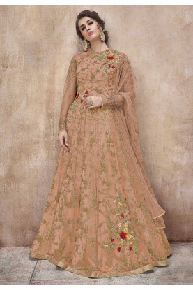Peach Colour Net Anarkali Salwar Suit.