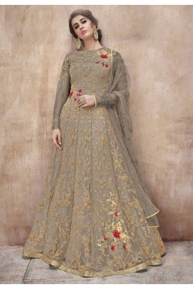 Grey Colour Anarkali Salwar Kameez.