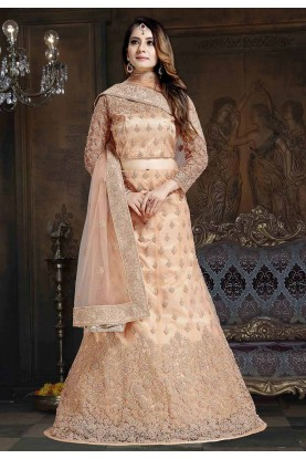Cream Colour Net Women's Lehenga Choli.