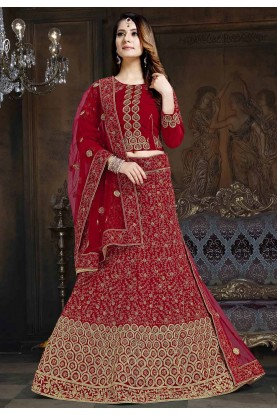 Maroon Colour Indian Wedding Lehenga Choli.