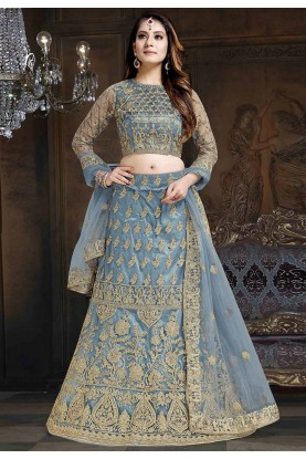 Designer Lehenga Choli Sea Blue Colour.