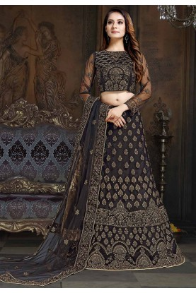 Black Colour Party Wear Lehenga Choli.