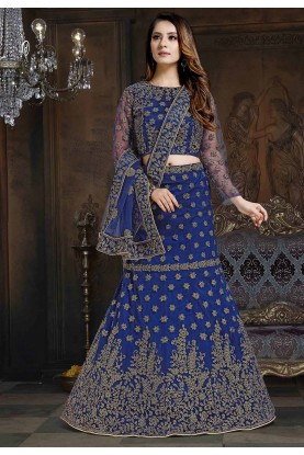 Blue Colour Embroidered Lehenga Choli.