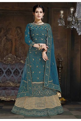 Teal Blue Colour Satin Lehenga Choli.