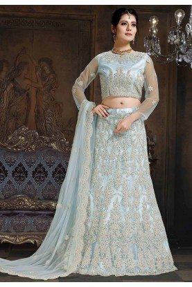 Sky Blue Colour Women's Lehenga Choli.