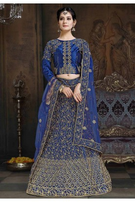 Party Wear Lehenga Choli Blue Colour.