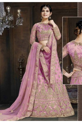 Pink Colour Bridal Lehenga Choli.