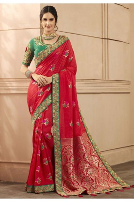 Red Colour Embroidery Saree.