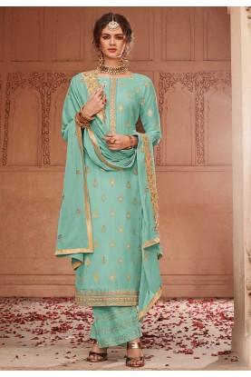 Green Colour Jacquard Salwar Suit.