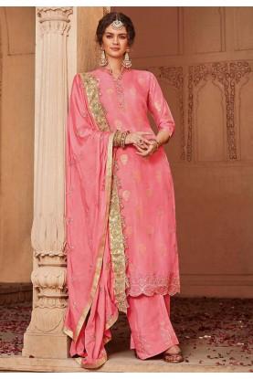Party Wear Salwar Suit Pink Colour.